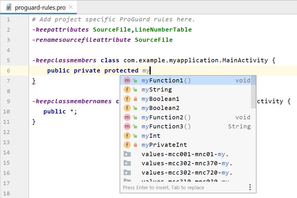 修改 ProGuard 规则文件时使用的智能编辑器功能